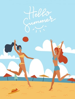 Young women playing volleyball together on the beach  illustration. happy girls in bikini outdoor activities. flat cartoon illustration with lettering hello summer