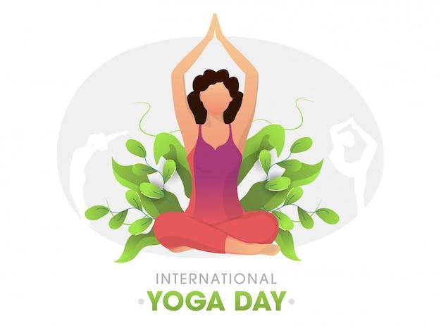 国際ヨガの日の白い背景の上の緑の葉を持つさまざまなポーズでヨガを練習する若い女性。
