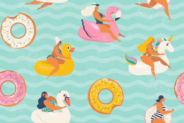 Young women relaxing and sunbathing on inflatable rings of different in shape of duck, unicorn, white swan, donut, flamingo in swimming pool.