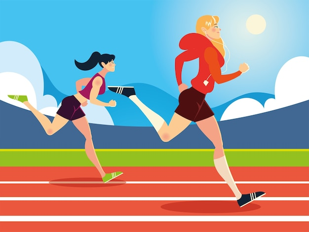 Young women running activity in the race track illustration
