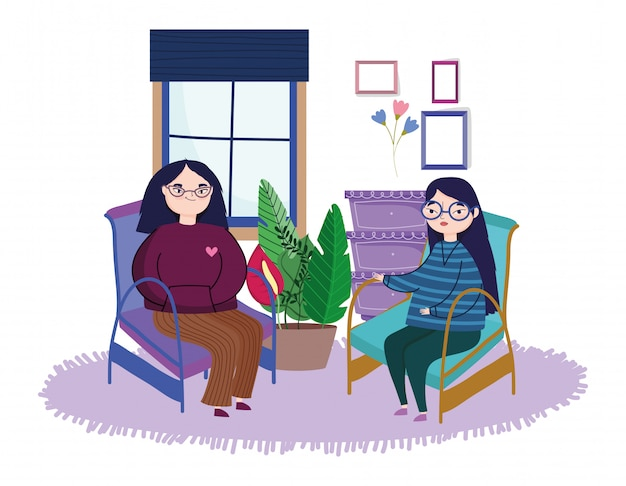 Young women sitting in armchair living room plant window leisure