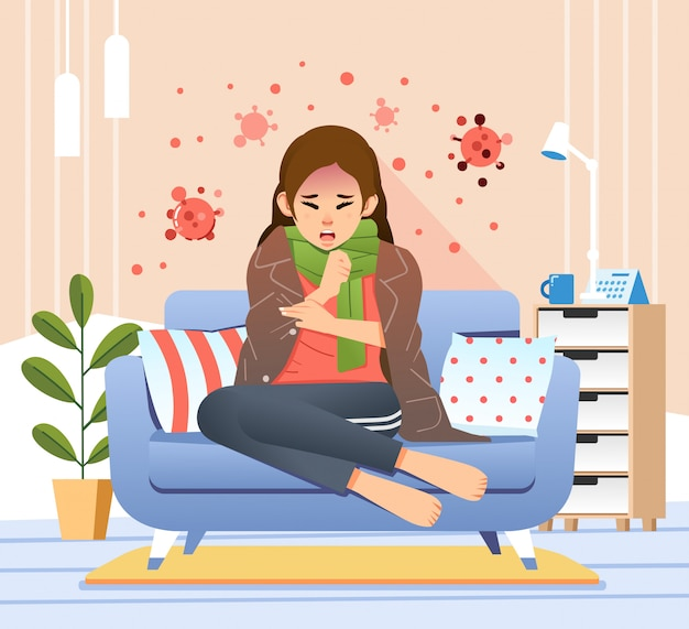 Young women  sitting in couch has corona virus symptom like cough and fever illustration