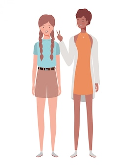 Young women standing on white
