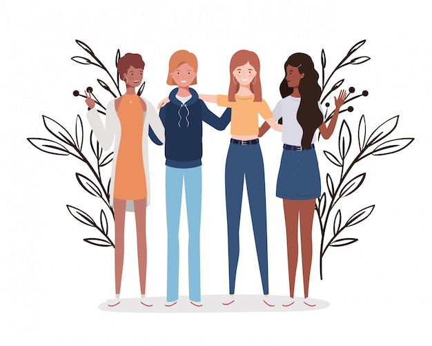 Young women standing with landscape illustration