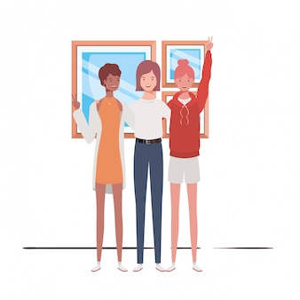 Young women standing