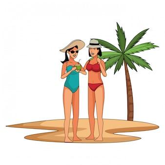 Young women in summer cartoons