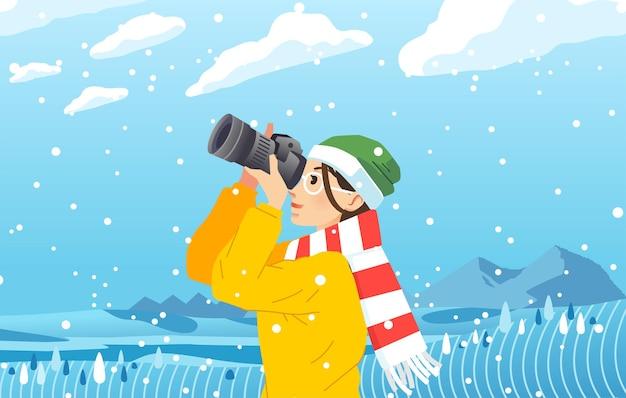 降雪フラットイラストの真ん中でカメラで写真を撮る若い女性。ソーシャルメディア、ランディングページのイラストなどに使用されます