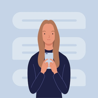 Young women uses a smartphone. pastime in social networks. illustration in a flat style