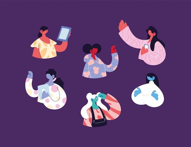 기술 도구를 사용하는 젊은 여성
