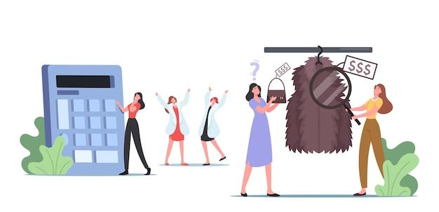 店で高価な服の毛皮のコートとバッグの品揃えを見ている若い女性。女の子は市場やショッピングモールでブランドのドレスを選びます。カスタマーキャラクターラグジュアリーファッション。漫画のベクトル図