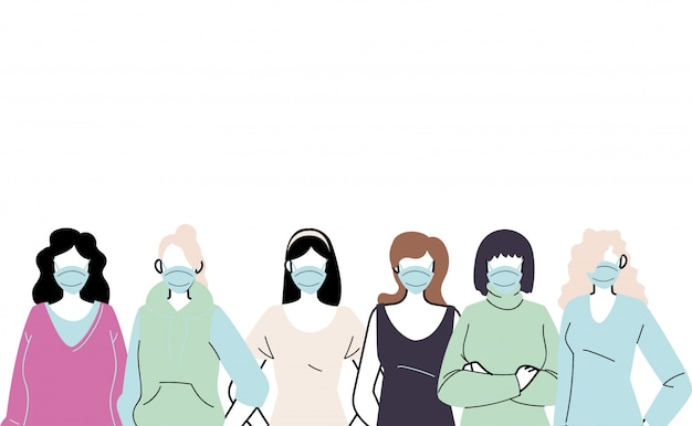 Young women wearing face mask to prevent virus