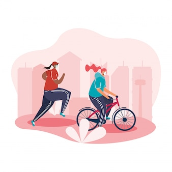 Young women wearing medical mask running and ride bicycle