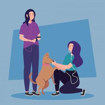 Молодые женщины с дизайном иллюстрации значка характера воплощения собаки
