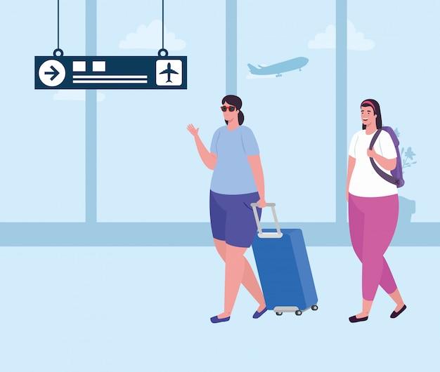 空港ターミナルの手荷物を持つ若い女性、手荷物の空港ターミナルで乗客の女性ベクトルイラストデザイン