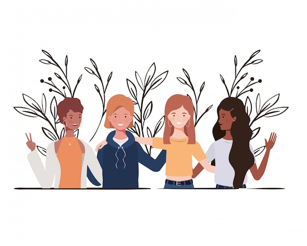 Young women with landscape illustration