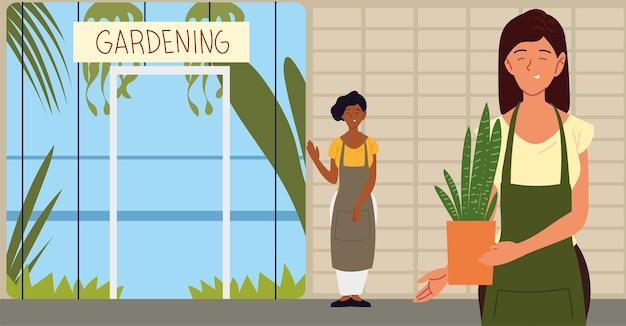 문 정원 가게 그림에 식물을 가진 젊은 여성