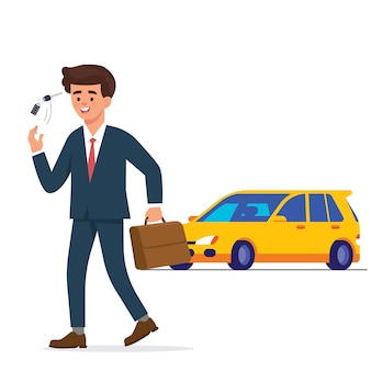Young worker walk and play his key car