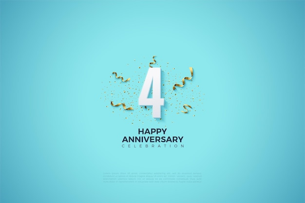 Your 4th anniversary with numbers and festive illustrations.