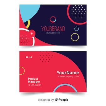 Your brand business card template with memphis and circles