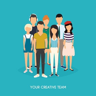 Your creative team. business team. teamwork. social network and social media concept. business flat   illustration.