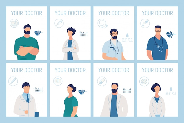 Your doctor presentation medical service cards set