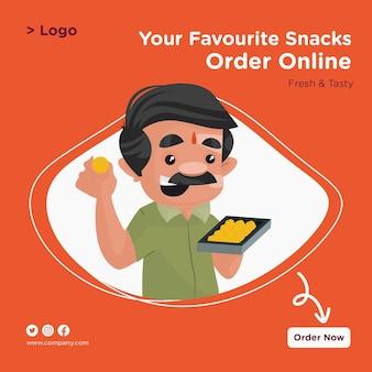 Ваши любимые закуски закажите онлайн-дизайн баннера с кондитером, держащим поднос со сладостями в руке