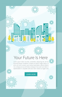 Your future is here banner with city view skyline