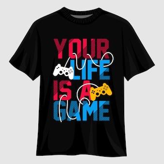 Твоя жизнь - игра типографика дизайн футболки