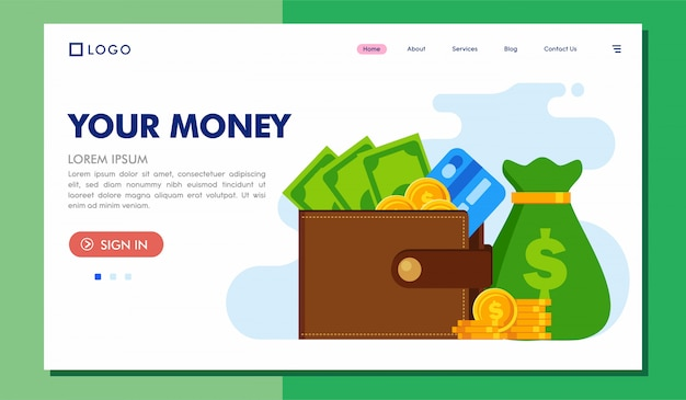 Your money landing page website illustration