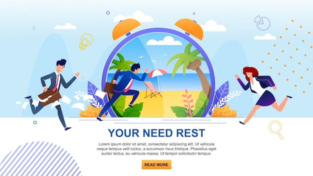 Your need rest motivation. cartoon running businesspeople. flat banner with overloaded male and female characters. metaphor huge clock with sunny beach in tropical country.