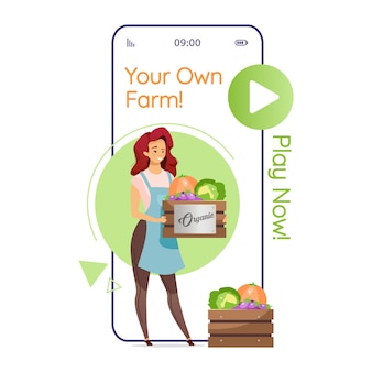 Your own farm cartoon smartphone app screen. farming game. woman with vegetables. mobile phone displays with flat character design . application telephone cute interface