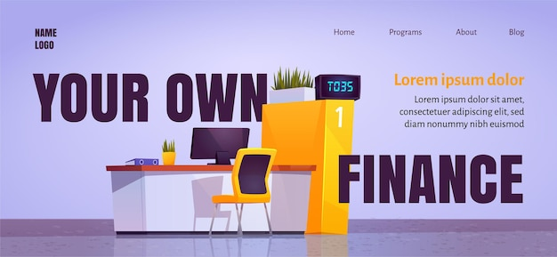 Your own finance cartoon landing page with bank office staff desk in lobby