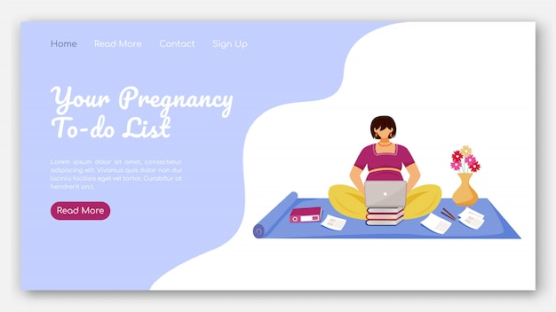 Your pregnancy to do list landing page  template. distant work for pregnant women website interface idea with  illustrations. homepage layout. web banner, webpage cartoon concept