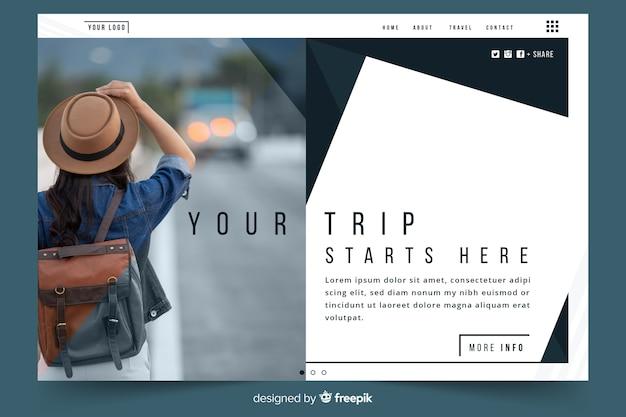 Ваша поездка начинается здесь целевой страницы путешествия
