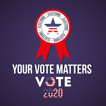 인감 도장 디자인, 대통령 선거 정부 및 캠페인 주제의 미국 스타와 함께 2020 년에 귀하의 투표가 중요합니다.