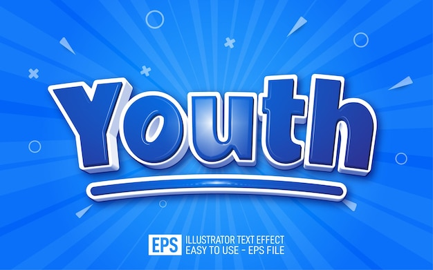 Youth 3d text editable style effect template