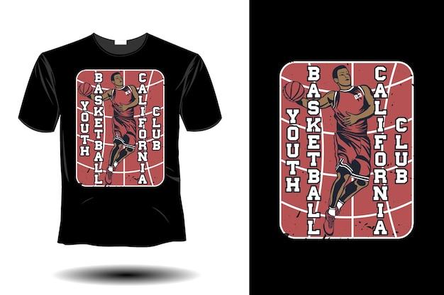 청소년 농구 캘리포니아 클럽 이랑 복고풍 빈티지 디자인