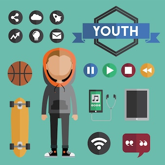 Youth boy flat design icons concept