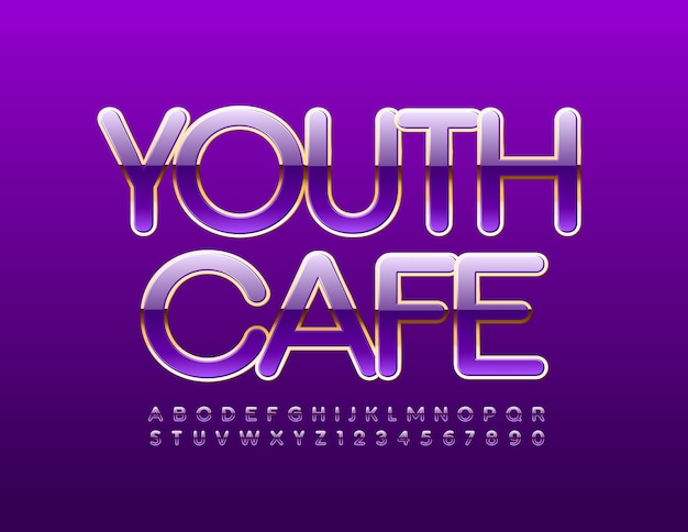 Youth cafe shiny violet and gold alphabet letters and numbers set luxury style font