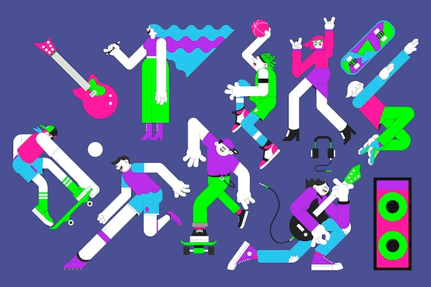 Youth characters on purple banner vector