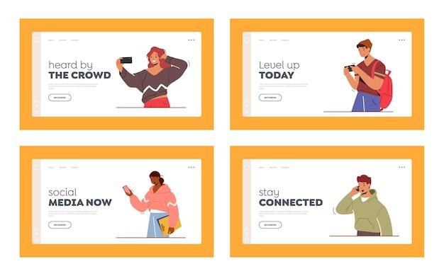電話を持った若者のキャラクター、10代のスマートフォンのコミュニケーションのランディングページ
