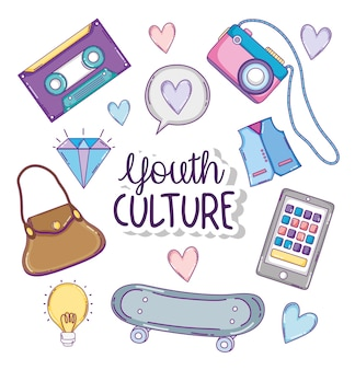 Youth culture fashion accesories cartoons vector illustration graphic design
