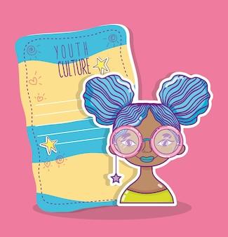 Молодежная культура millenial женщина с пустой прохладно бумаги записки векторной иллюстрации графический дизайн