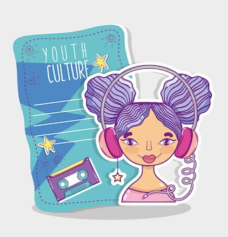 Youth culture millenial woman with blank cool paper note vector illustration graphic design