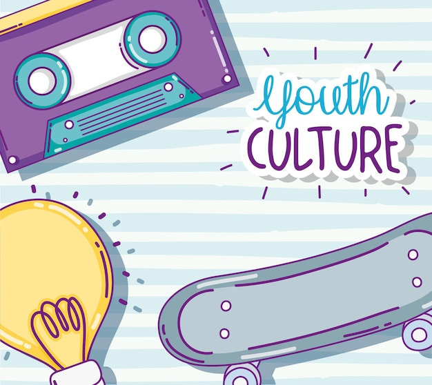 Youth culture music cassette and skateboard with bulb light cartoons vector illustration graphic des