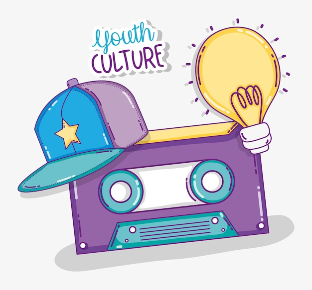 Youth culture music cassette with hat and bulb light cartoons vector illustration graphic design
