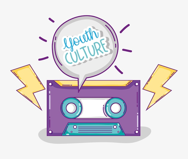Youth culture music cassette with rays cartoons vector illustration graphic design