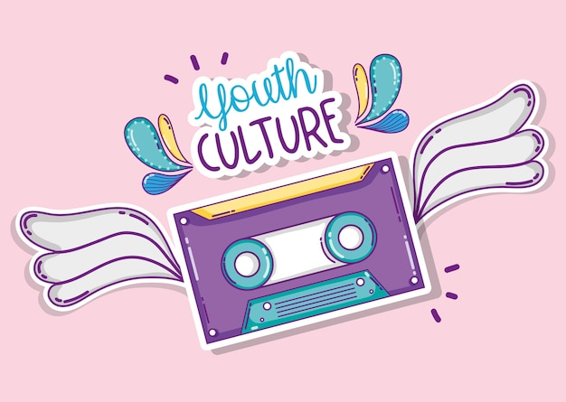 Youth culture music cassette with wings cartoons vector illustration graphic design