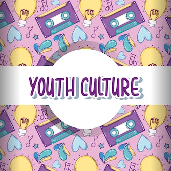Youth culture pattern background with cute cartoons vector illustration graphic design