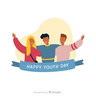 Youth day background flat style